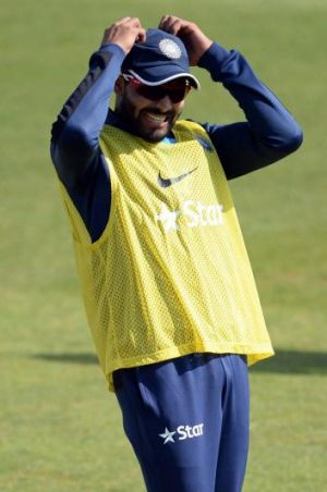 Ravindra Jadeja during a nets session in Southampton on Friday.