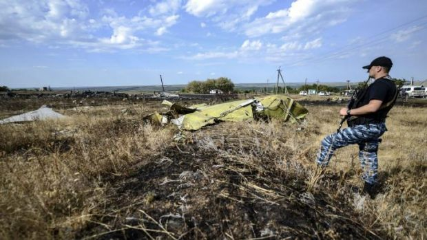 A pro-Russian militant  stands guard near a piece of debris at the crash site of the Malaysia Airlines Flight MH17  near ...