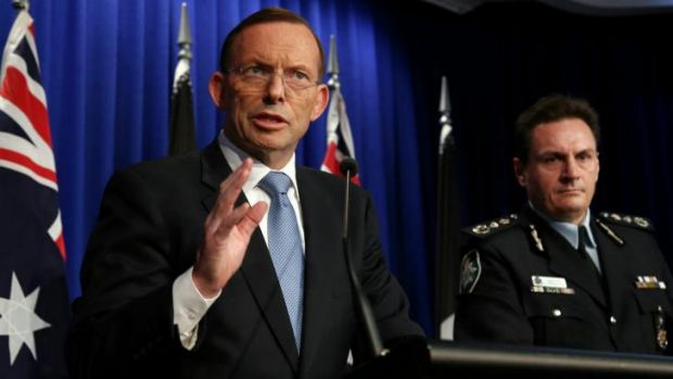Prime Minister Tony Abbott and AFP Commissioner Tony Negus brief the media on the MH17 mission.
