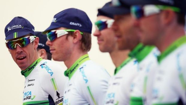 Mathew Hayman, left, with his Orica-GREENEDGE teammates earlier this year.