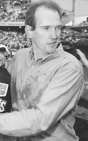 Way back when: Wayne Bennett after leading the Broncos to the 1992 premiership.