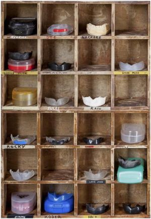 The collection of mouth guards.