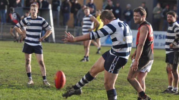 Stylish: Colac's Sean O'Neill shoots for goal against Irrewarra-Beeac