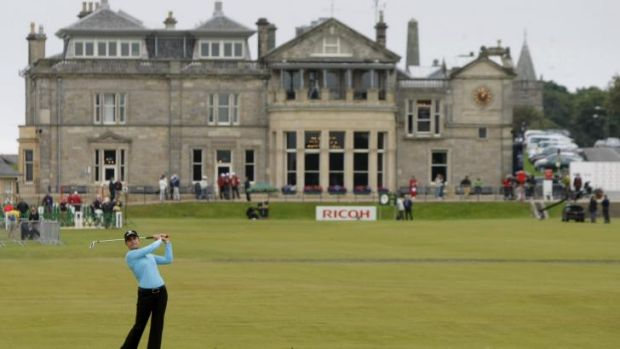 Anachronism: the Royal and Ancient Golf Club in St Andrews looks on as Mexican golfer Lorena Ochoa participates in the ...