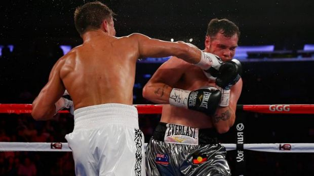 Cop that: Gennady Golovkin delivers a right hand to the face of Daniel Geale.