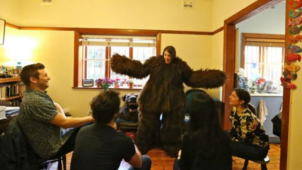 Easy to bear: Scarlet McGlynn performs in a Glebe home as one of the bears in a version of <i>Goldilocks</i> for ...