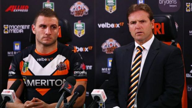Damage control: Robbie Farah and Mick Potter face the media on Sunday.