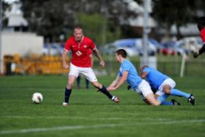 Canberra FC's Ian Graham received his marching orders after a second yellow card.