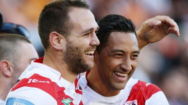 Kia Ora bro: Jason Nightingale, left, of the Dragons celebrates with Benji Marshall after scoring against the Tigers.
