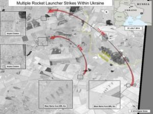 This shows ground scarring at two rocket launch sites oriented in the direction of Ukraine military units, the US says.