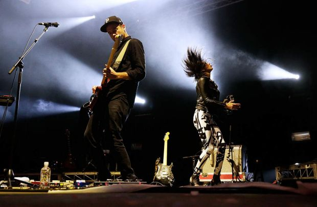 Sarah Barthel and Josh Carter of Phantogram perform on stage at Splendour In the Grass.