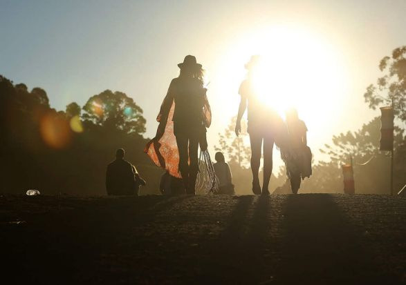 Revellers walk between stages at Splendour In the Grass.