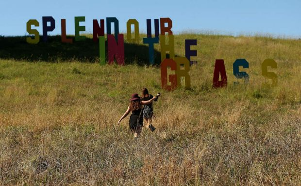 Crowds arrive onsite on the first day of Splendour In the Grass.