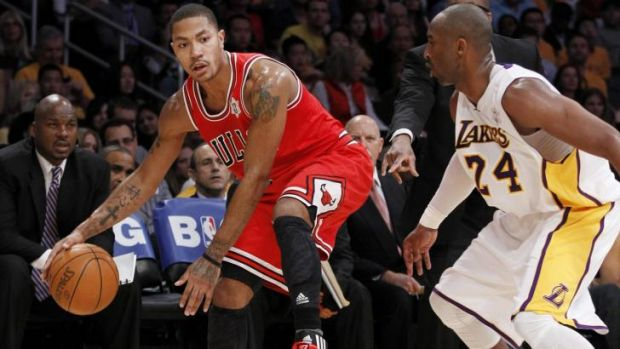 Comeback trail, again: Derrick Rose in action for Chicago against LA Lakers guard Kobe Bryant in 2011.