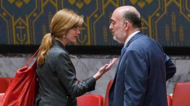 The US ambassador to the United Nations, Samantha Power, speaks with Israel's UN ambassador Ron Prosor, before a ...