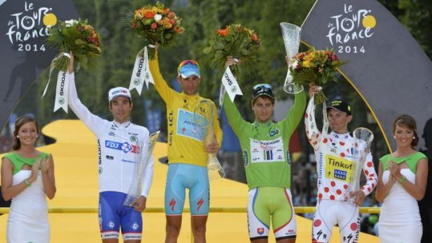 Classification winners: (from left) )Thibaut Pinot, Vincenzo Nibali, Peter Sagan and Rafal Majka.