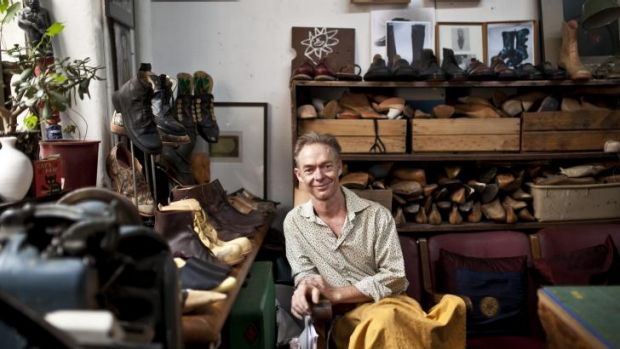 Sole trader: Shoemaker Brendan Dwyer in his studio in the Nicholas Building.