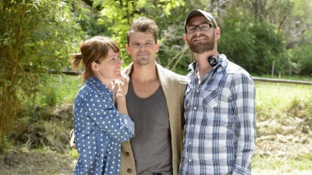 Producer Liz Kearney, lead actor Nathan Phillips and writer-director Zak Hilditch on set.