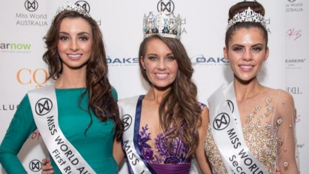 Miss World Australia 2014 Courtney Thorpe (centre) with runners up.