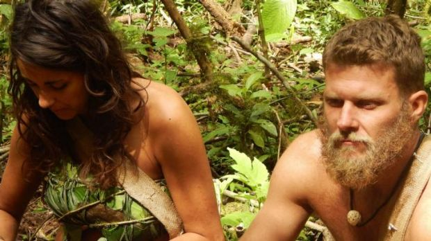 Out in the wilderness without a stitch in <i>Naked and Afraid</i>.