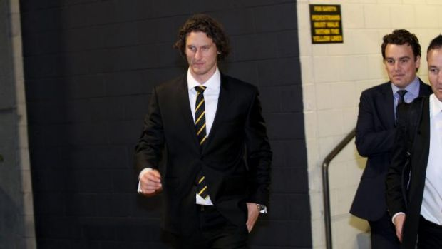 Ty Vickery enters the tribunal on Tuesday.
