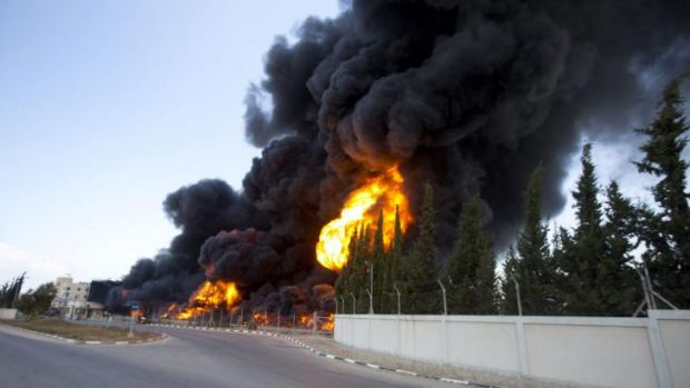 Flames engulf the only power plant supplying electricity to the Gaza Strip.