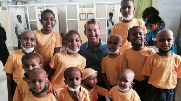 Brett Lee pictured this week with children in India, involved in his non-profit education program, Mewsic.