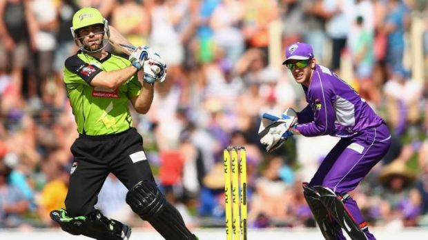 Ryan Carters of the Thunder bats during the Big Bash League match between the Hobart Hurricanes and Sydney Thunder.