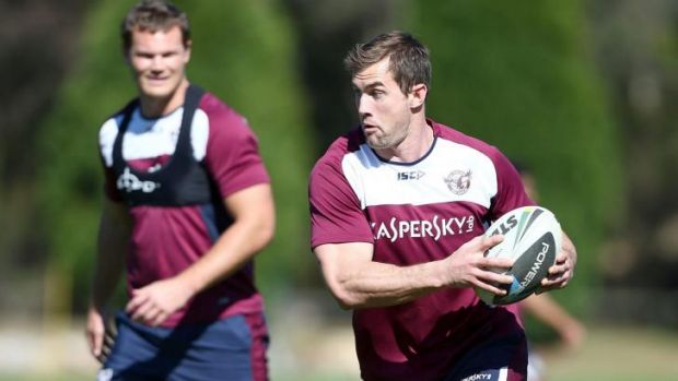 Focused on finishing on top: Manly prop Brenton Lawrence.