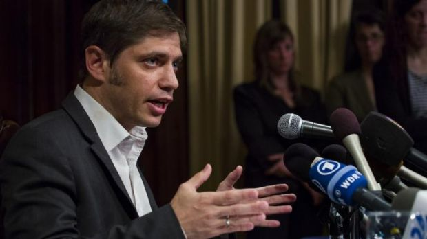 Axel Kicillof, Argentina's economy minister, addresses the media in Manhattan on Wednesday. He has described hedge funds ...