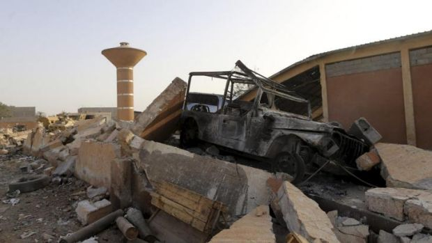 The aftermath of the fighting between Libyan special forces and rebel fighters.