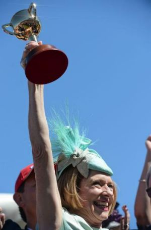 Spoils of victory: Gai Waterhouse celebrates after Fiorente's Melbourne Cup triumph.