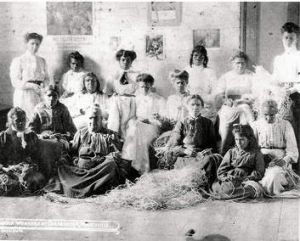 Scenes from Coranderrk: women take part in a 'raffia workshop.'