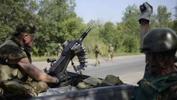 "Members of Ukrainian self-defence battalion ""Donbass"" near the town of Pervomaysk on Thursday."