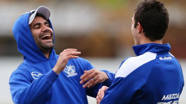 Kanga capers: Lindsay Thomas  (left) and Michael Firrito share a laugh at training.