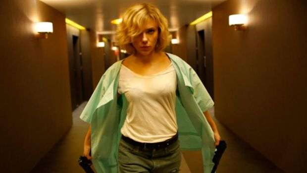 Scarlett Johansson in Luc Besson's action thriller <i>Lucy</i>.