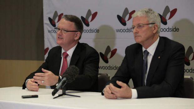 Woodside chief executive Peter Coleman and chairman Michael Chaney after the meeting in Perth on Friday.