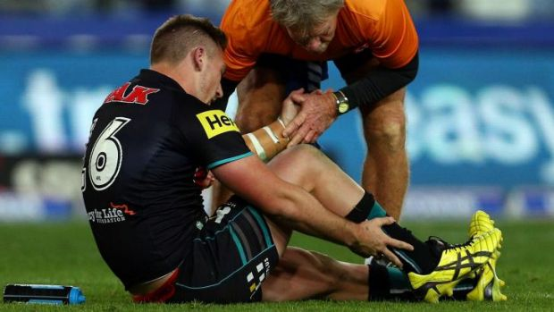 Heavy cost: Bryce Cartwright injured his ankle in his side's victory.
