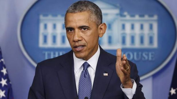 U.S. President Barack Obama speaking to the press about the Gaza conflict.