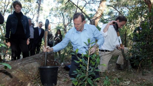 Prime Minister Tony Abbott, accompanied by his wife Margie Abbott, holds a joint press conference with minister for the ...