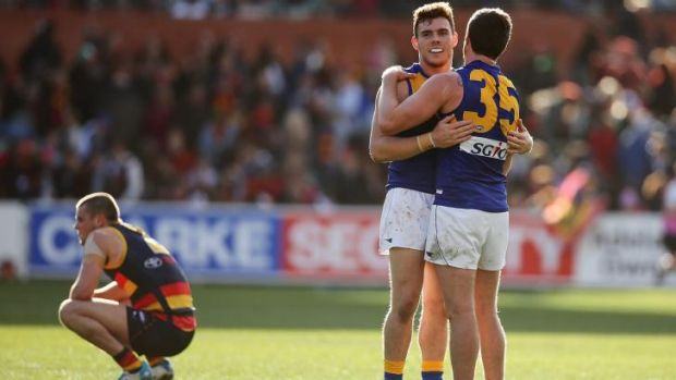 Well done, Eagles: Luke Shuey (left) and Patrick McGinnity celebrate their win.