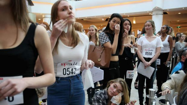 Line of beauty: Aspirants remove their make-up at <i>Australia's Next Top Model</i> auditions in Chatswood.