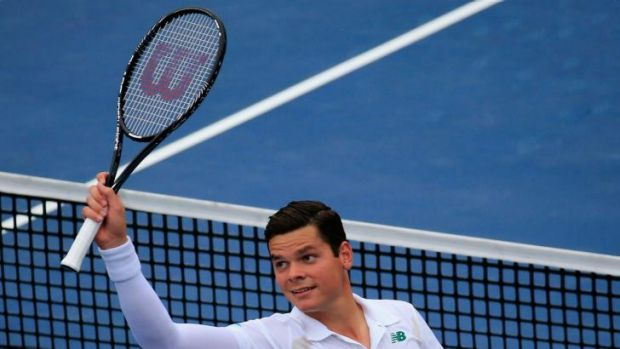 Milos Raonic celebrates a victory during the Citi Open.