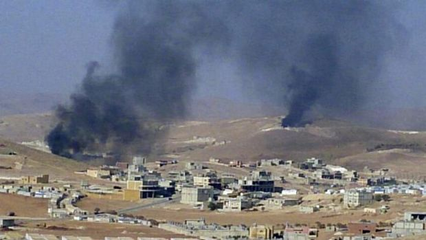 Smoke billows around the Lebanese town of Arsal, near the border with war-torn Syria.