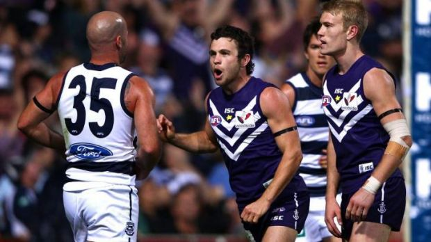 Hayden Ballantyne gives Paul Chapman some unsolicited advice when Fremantle played Geelong in round one 2012.