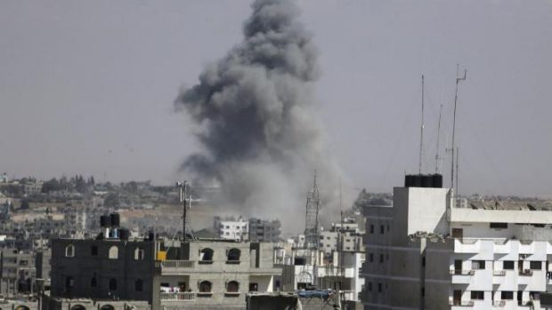 Smoke rises following an Israeli air strike in Rafah in the southern Gaza Strip.