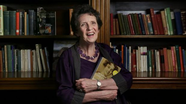 Alison Alexander with her book <i>The Ambitions of Jane Franklin</i>: Victorian Lady Adventurer, at the State Library of NSW.