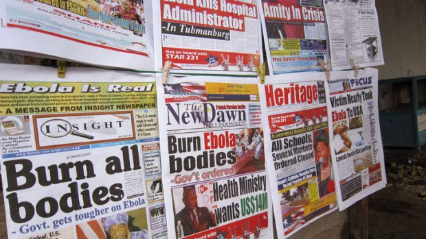 Newspaper headlines demonstrate the escalating fears over the fast-spreading Ebola virus.