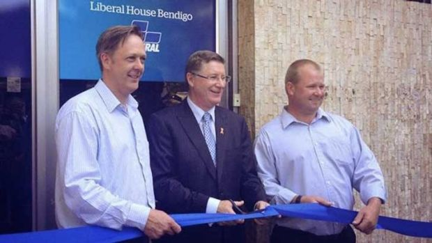 Jack Lyons (right) with Premier Denis Napthine.