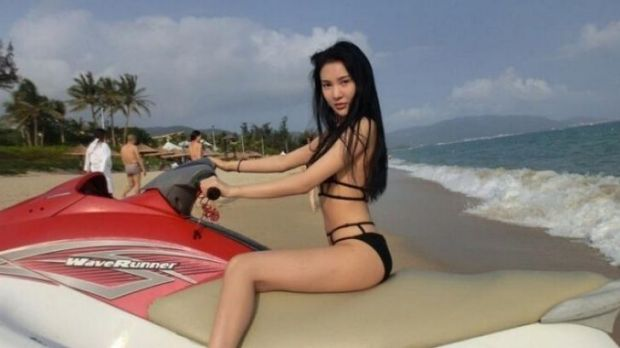 Guo Meimei living the high life, here, seen on a jet-ski.